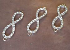 3 pcs Rose Gold Infinity Symbol Rhinestone High quality Metal Pave Connector