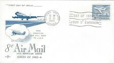 1964 #436 Air Mail Stamp 8 cents FDC with Rose Craft cachet