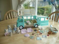 sylvanian families campervan with lots of accessories and animals