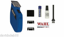 WAHL Cordless PRO Pocket TRIMMER/Clipper Set-Blade,Guide Combs,Battery Kit*BLUE