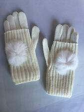 New Women soft Warm Winter cable knit Gloves Mittens With Big Fur Ball SEXY