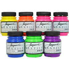 Jacquard Textile Color 7 Assorted Fluorescent Pigments Fabric Ink Airbrush Paint