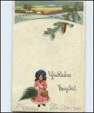 GEBURTSTAG Grusskarte 1915 Prägekarte Präge-AK Geprägtes Kind mit Topographie