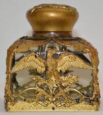 Antique French Empire Originally Gold Gilded Over Bronze Crystal Glass Inkwell 2