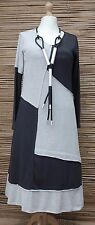 LAGENLOOK*KEKOO*COTTON BEAUTIFUL JERSEY DRESS*ANTHRACITE/LIGHT GREY*Size 36-38