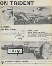 HAWKER SIDDELEY TRIDENT 1967 2 PG PIA PAKISTAN-BEA-KUWAIT-IRAQI AIRWAYS AD