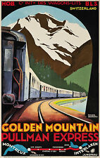 Swiss Ski Poster Golden Mountain Pukkman Express 13 x 19 Giclee Print
