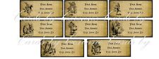 Alice in Wonderland grunge 48 address labels laminated glossy with pictures