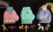 3 Vintage 1995 Polly Pocket Compacts: Pony Sisters/Arabian Beauty/Western Pony