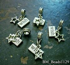 5PC Lot WISH Upon a STAR Word Tag Pendants European Dangle Bead Charms