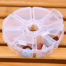 Sale 8 Slots White Plastic Case Round Storage Box Usefull Jewelry Beads Boxes