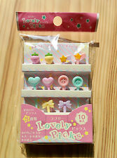 Lovely Food Picks for Japanese Bento Lunch Box - Ribbon Strawberry Button Heart