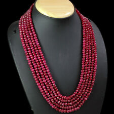 ATTRACTIVE 628.00 CTS NATURAL 5 LINE RED RUBY ROUND BEADS NECKLACE - GEM EDH