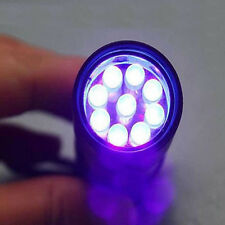 Aluminum Mini Portable Flashlight 9 LED UV Ultra Violet Torch Light Lamp