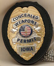 Concealed Carry Permit badge & belt clip Iowa Gold colored base
