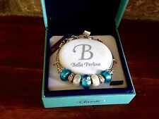 Bella Perlina Charm Bead Bracelet - Blue with Flowers - NIB