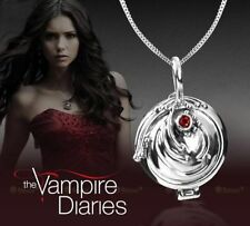 Solid 925 Silver Vampire Diaries Elena Red CZ Vervain Locket Pendant Necklace