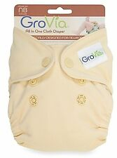 GroVia Newborn All in One Cloth Diaper Vanilla No Cover Needed Organic Cotton