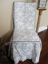 Country French Black and White Toile Armless Chair Cover Cushioned Foam NEW