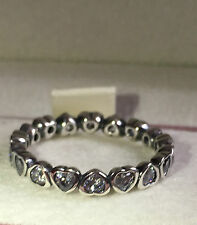 PANDORA SPARKLING HEART STACKIN RING ,190897CZ S925 ALE, SIZE 56 WITH POUCH