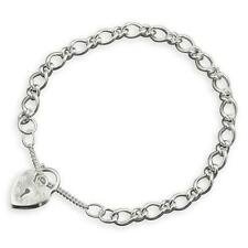 "CHILDRENS 925 Sterling Silver Charm Bracelet-Small 5-6"" w/Padlock & Safety Chain"