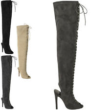 WOMENS LADIES SEXY OVER THE KNEE THIGH HIGH LACE UP STILETTOS HEELS BOOTS SIZE