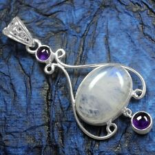 7.48 Grams 925 Sterling Silver Natural Moonstone Amethyst Pure Pendant Jewelry $