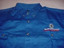 Smith & Wesson Racing Button Front Pocket Logo Embroidered Shirt Blue M L/S