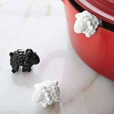 Tovolo Lid Lifters 3 Set White Black Sheep Silicone No Boil Over Secure Fit