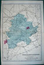 1884 LARGE ANTIQUE COUNTY MAP-BACON -NORTHAMPTONSHIRE SOUTH,DAVENTRY,BRACKLEY