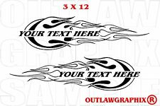 PERSONALIZED FLAMES  DECAL SET FOR HARLEY DAVIDSON OR OTHERS-CHOOSE COLOR & TEXT