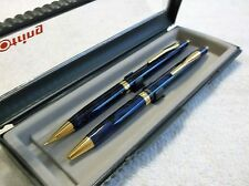 ROTRING SIDE KNOCK BLUE MARBLE LAPIS LAZULI BALLPOINT PEN & PENCIL NEW IN BOX