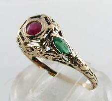 COMBO 9K 9CT YELLOW GOLD INDIAN RUBY  COLOMBIAN EMERALD ART DECO INS RING