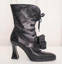 CHANEL Women's Black Leather Capped-Toe Lace-Up Bow Ankle Boots Booties 8-38