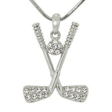 "W Swarovski Crystal GOLF Sticks Ball Player FIELD Hockey Necklace 18"" Chain"