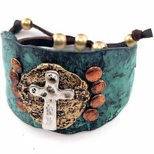 VINTAGE WESTERN COWGIRL HAMMERED PLATE CROSS LEATHER CUFF PATINA BRACELET