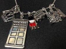 "London Big Ben Clock Guard Crest Crown Charm Tibetan Silver with 18"" Necklace"
