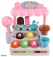 Memtes® Mini Ice Cream Shop Toy Stand Pretend Play Set with Lights and Sound For