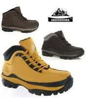 MENS GROUNDWORK  SAFETY STEEL TOE CAP WORK BOOTS LEATHER HIKING SHOES UK 7-12