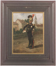 "Eugene Cottin (1840-1902) ""Guard Officer on Village Street"", Oil Painting"
