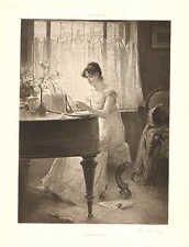 Music, Piano, The Old Song, by Percy Moran, Vintage 1890 Antique Art Print