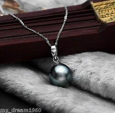 Genuine 14mm Black Mother Of Pearl Shell Pearl Pendant Necklace 18K GP Chain