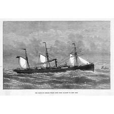 The State Line Steam Ship Indiana Glasgow to New York Route - Antique Print 1874
