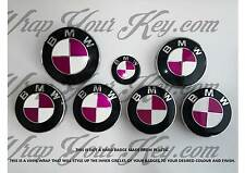 WHITE & PINK FUCHSIA BMW Badge Emblem Overlay Wrap HOOD TRUNK RIMS FITS ALL BMW!
