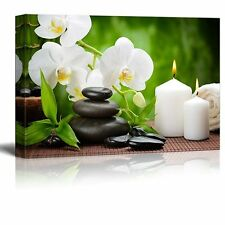 """Canvas Prints Wall Art - Zen Basalt Stones and Orchid on the Wood - 12"""" x 18"""""""