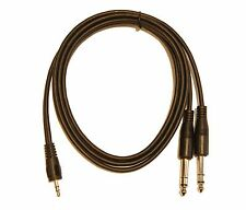 "5ft. 3.5mm TRS Stereo to 2 x 1/4"" (6.3mm) Stereo TRS Splitter Y Cable Adapter"
