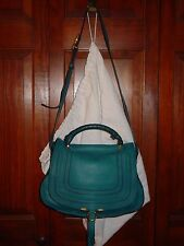 Authentic CHLOE Laguna Blue MARCIE Top Handle Crossbody 2Way Bag PURSE W/ Duster