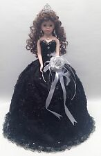 NEW Black 22 inch XV 15 Anos Quinceanera Sequins Dress Porcelain Umbrella Doll