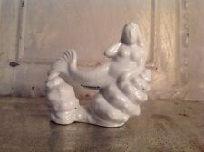 Vintage Mermaid Fish Tank Aquarium Ornament Statue Nude Ceramic Sea Goddess
