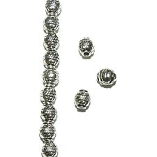 MBL7221L2 Rope & Dot Deco 5mm Rimmed Round Drum Antiqued Silver Metal Bead 100pk